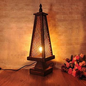 Thai Crafts Bamboo Carving Table Lamps Decoration Hotel Room Decorative Light Southeast Asian Style Table Lamps TA9194