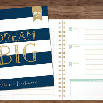2015 planner custom planner student planner HORIZONTAL LAYOUT weekly monthly calendar agenda daytimer / navy stripes gold glitter dream big