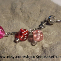 Belly Ring with White Rhinestone and One Pink, One Red and One Dark Pink Dice with Silver Chain Surgical Stainless Steel