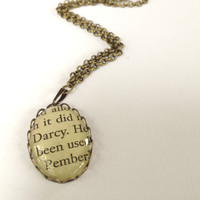 Pride and Prejudice Pendant Book Page Necklace Mr Darcy