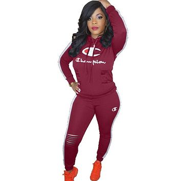 Champion Fashion New Letter Print Hole Sports Leisure Long Sleeve Top And Pants Two Piece Suit Burgundy