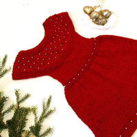Knitted Christmas dress for little girl 1-2 year, Toddler girls dresses , MADE TO ORDER