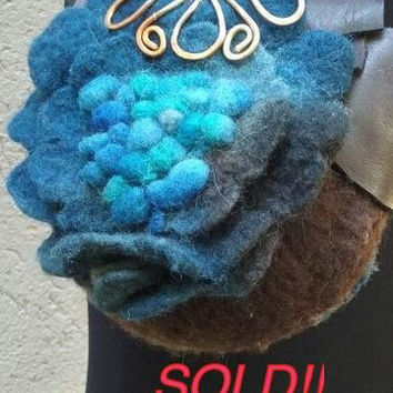 Hand-dyed Felt and Leather Handbag with Copper Detail