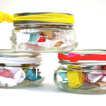 Hair Tie Gift Set in Mini Mason Jar - 10 Elastic Yoga Hair Ties, Bracelets - Birthday Gift, Wedding Favor, Shower Favor - Hair Accessories