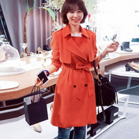 Orange Lapel Trench Coat