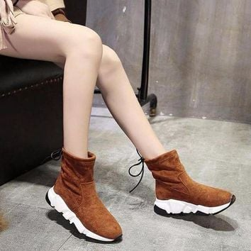 ONETOW Best Online Sale Balenciaga Speed HIGH Scrub Ankle Boots Sport Shoes Camel Colo