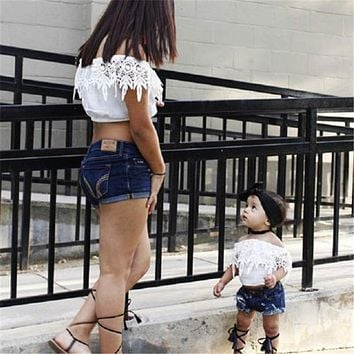 Cute Toddler Baby Kids Girl casual Clothes Lace off shoulder pullover tassels sleeveless Tops Denim pocket Shorts 2pc cotton set