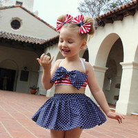 Baby Girl's 4 Piece Americana Bathing Suit - Top, Bottom, & Pony Tail Holders 12 Months