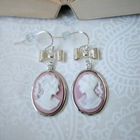 Silver Cameo Drop Earrings with Bow White on Lilac Lady French Wires