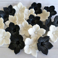 White Black Sugar Edible Flower Cake Fondant Topper Wedding Gothic Decor Party Sweet 16 Bridal Shower Candy Gumpaste Petunia Cupcake -set 24