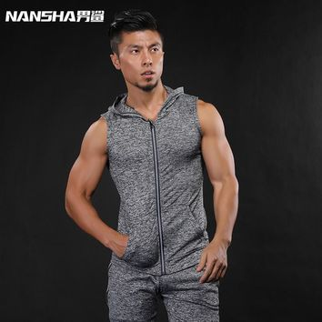 New Gyms Hoodie Stringer Tank Top Men Waistcoat Fitness Vest Men's Singlets Sporting Sleeveless Sweatshirts
