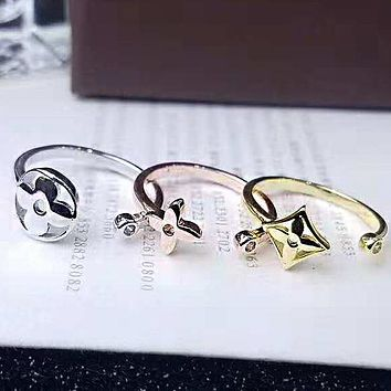 LV Louis Vuitton Newest Stylish Ladies Cute Titanium Steel Accessories Jewelry Ring Three Piece