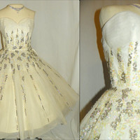 1950's White Silk Tulle SEQUIN Party Dress Vintage 50's Sparkly Bridal Strapless Couture Formal Bombshell Gown Cocktail Wedding Dress