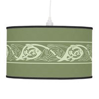 Celtic Knotwork Fish in Green Hanging Lamp
