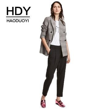 Women Plaid Casual Pants A-Line Pockets Zipper Ruffles Office Lady Loose Leg Ankle-Length Pants
