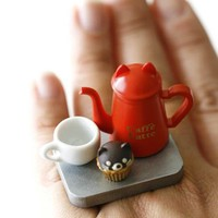 Kawaii Cute Japanese Ring - Cat Coffee Pot and Cat Shape Cupcake