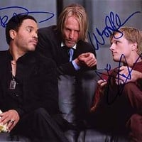 HUNGER GAMES (Lenny Kravitz, Woody Harrelson & Josh Hutcherson) 8x10 Cast Photo Signed In-Person