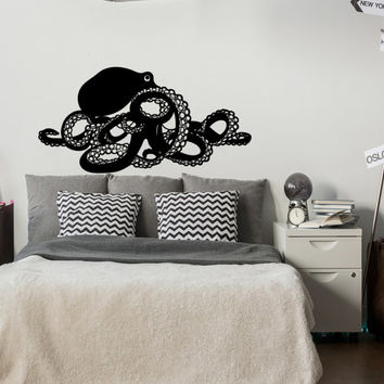Large Octopus Kraken Removable Wall Decal- Octopus Tentacle Wall Decal- Nautical Wall Decal- Ocean Sea Animals Decals for Home Decor #131