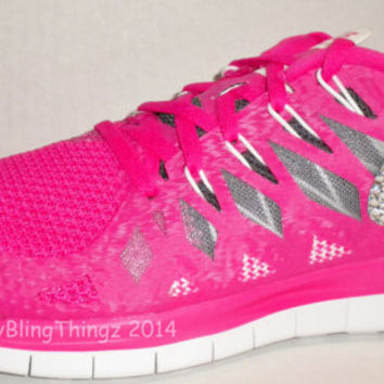 NEW!! Nike Free 5.0+ 2014 Running Shoes - Vivid Pink / Anthracite / White / Wolf Grey - Bedazzled with 100% Swarovski Elements Crystals