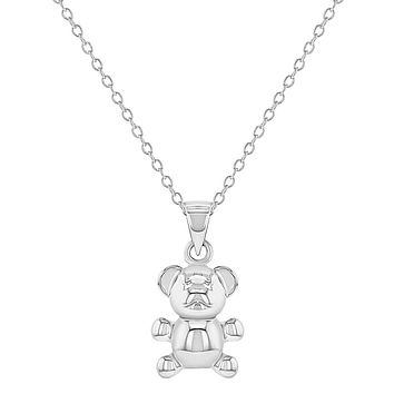 925 Sterling Silver Small Teddy Bear Pendant Necklace for Little Girls 16""