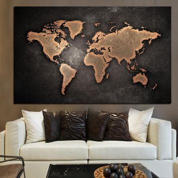 Abstract 3D World Map Canvas Painting Classical Black World Map Print On Canvas for Office Room Picture Wall Art Cuadros Decor