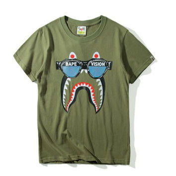 Bape shark Loose and pure cotton round collar men's short-sleeve t-shirts top