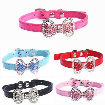 Cute Faux Leather Rhinestone Adjustable Buckle Bowknot Pet Cat Puppy Dog Collar