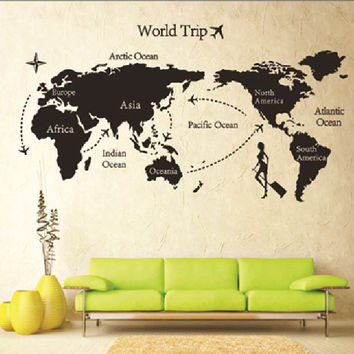 Removable paper for decor vinyl wall stickers on the Wall for kids rooms decals house Sticker girls world map sticker AY9133 SM6