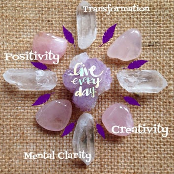 Crystal Set Beginners Collection Crystal Kit healing crystals and stones Cactus Quartz Clear Quartz Rose Quartz Spirit Quartz Fairy Quartz