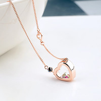 Precious Glass Heart Pendant Necklace Austrian crystal Glass Bottle Pendants Brand Jewellery Women Girl Mom New Year Gift