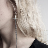 Cross Earrings With Chain