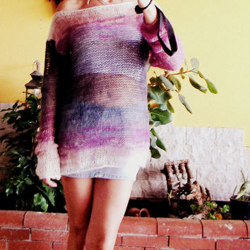 Hand Knitted Mohair Blouse Smokey Gray and Purple Sweater Loose Fit Semi Sheer Lightweight Jumper Long Sleeve Pullover Grunge Rock Punk