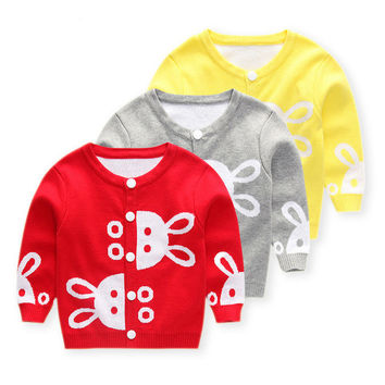 spring autumn children pure cotton clothes baby girls child clothing Cute little rabbit sweater kids tops knit 1-6 years15324