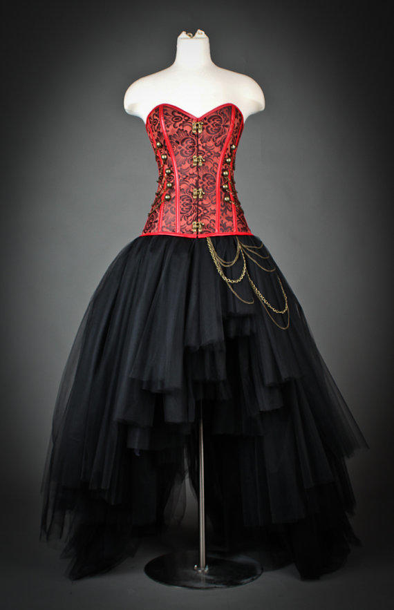 Custom size black and red steampunk from glamtastik on etsy for Steampunk corset wedding dress