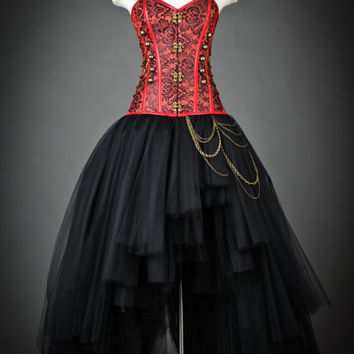 Custom size Black and Red Steampunk Burlesque corset bridal prom dress S-XL