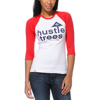 LRG Girls Hustle Trees White & Red Baseball Tee Shirt at Zumiez : PDP