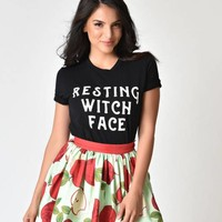 Unique Vintage Black Resting Witch Face Short Sleeve Unisex Tee