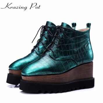 Krazing pot natural leather high street fashion square toe high heels lace up winter boots fashion superstar ankle boots L3f1