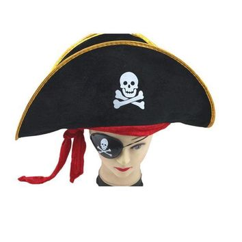 ESB6F Creative Halloween Accessories Skull Hat Caribbean Pirate Hat Skull Pirate Hat Piracy Hat Corsair Cap Party Supplies