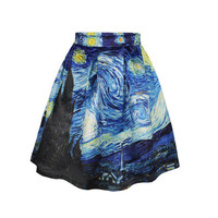 2015 summer Fashion Pleated Skirt casual skirts High Waist Van Gogh's Starry Night Print skirts for women