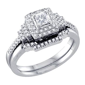 Ladies 14K WG Princess Cut Diamond Bridal Engagement Ring Set 0.50CT