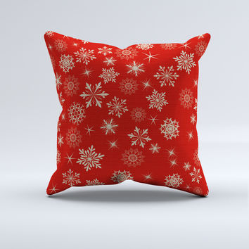 Red Snowflake Christmas Throw Pillow