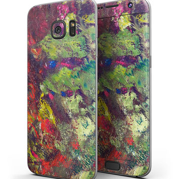 Green and Red Wet Oil Paint Canvas - Full Body Skin-Kit for the Samsung Galaxy S7 or S7 Edge