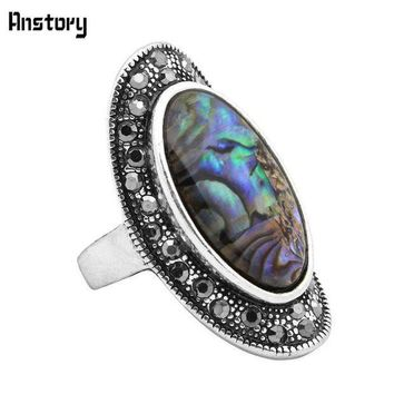 ESBONFI Rhinestone Oval Shell Rings For Women Vintage Antique Silver Plated Big Size Fashion Jewelry TR432
