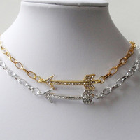 Arrow Silver/ Gold  Necklace, Arrow Clear Rhinestone Sideways Chainmaille Necklace, CHOOSE YOUR COLOR