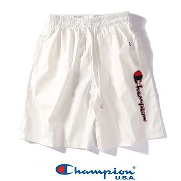 Champion Fashion New Summer Embroidery Letter Women Men Sports Leisure Shorts White