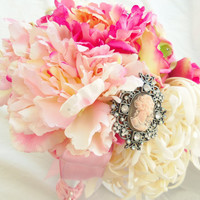 Wedding Brooch Bouquet Pink Blush and White Peonies Bridal Bouquet Shabby Chic