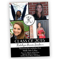 Photo Collage College Graduation Invitations - Graduation Announcements - Monogram Photo Graduation Announcement - Class of 2015 - 2016