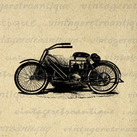 Digital Printable Old Motorcycle Antique Download Graphic Illustration Image Vintage Clip Art for Transfers etc HQ 300dpi No.3444
