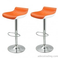 Adeco Glossy Counter Bar Stools, Set of 2, Orange - ch0139-2
